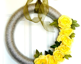 Gray Yarn Wreath with Yellow Flowers | Spring Wreath | Front Door Wreath | Modern Wreath | Indoor Wreath