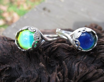 Mood Ring Sterling Silver, Color Changing Ring, Adjustable, Mood Jewelry, 10mm Mood Cabochon, .925 Sterling Filigree Setting