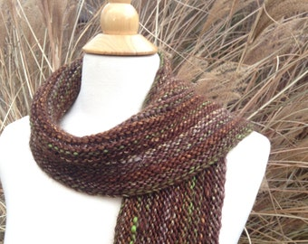 Forest Floor - Winter Scarf - Knit - Wool Blend - Brown and Green