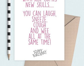 Laugh, Cough and Sneeze funny birthday card