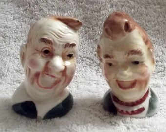 Vintage SALT & PEPPER Set...Laughing Man and Woman..Bust Salt and Peppers...Humorous Twosome...1950s...Japan...Collector Item...UNIQUE
