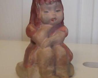Vintage...CHALKWARE Figure...Little Girl Sitting on a Step....JOYCE PRICE....Hand Decorated Figurine