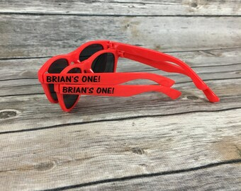 First Birthday KIDS Personalized Sunglasses, Boys Birthday Party, 1st Birthday Favor, Let's Party, Summer Birthday, Beach Party, Pool Party