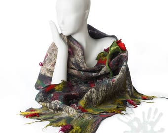 Spring Roses / Shawl With Brooch Handmade Felted Scarf /Merino Wool / Nuno Felt / Wool scarf / Gray / Red / Green / / Free shipping.