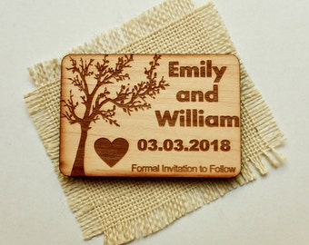 Wedding Save-the-Date Magnet, Wood Magnet, Wooden Magnet, Save The Date Magnet, Wooden Save The Date Magnet, Rustic Save The Date