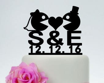 PacMan and Ms PacMan Wedding Cake Topper,Eat Bean Ghost Cake Topper,Initials Cake Topper With Date,Custom Cake Topper I034