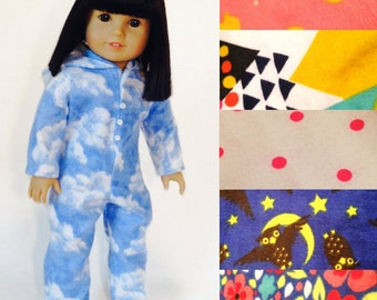 Onesie Pajama Set for your American Girl Doll! -5 Exclusive patterns Available!- Little Lady Apparel