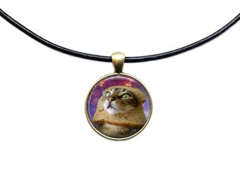Space jewelry Meme necklace Bread Cat pendant