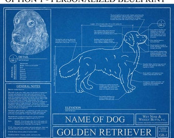Personalized Golden Retriever Blueprint / Golden Retriever Art / Golden Retriever Wall Art / Golden Retriever Gift / Retriever Print