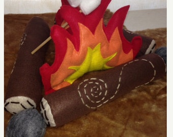 Kids stuffed felt faux campfire