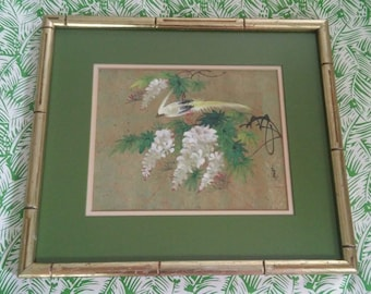 Vintage Asian Bird Painting Matted in Gold Faux Bamboo Frame Gallery Wall Art Hollywood Regency Chinoiserie