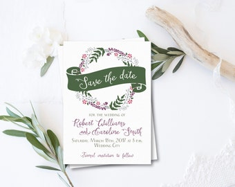 Save the Date Printable, Forest Wedding, Rustic Save the Date card, Floral Wedding, Forest Save the Date, Forest Inspired