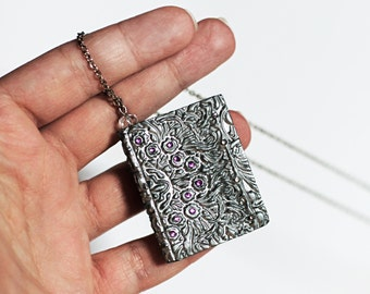 Silver book necklace Mini book jewelry Long chain Pendant necklace Book lover gift Book worm jewelry Book pendant Double sided Book gifts