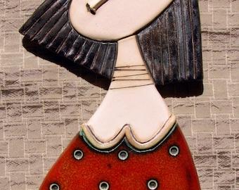 Girl with Red Dress - Original Handmade Ceramic Art Tile,Wall Art,Home Decoration