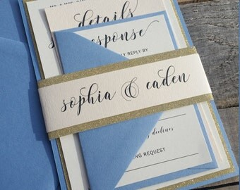 Blush Wedding Invitations, Vintage Pale Blush, Dusty Blue and Gold Glitter, Modern Calligraphy Wedding Invitations, S022-Sophia