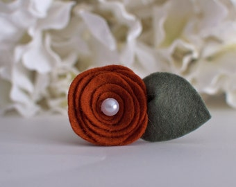 Burnt Orange Felt Mini Rose-Can only purchase with a picture frame from Kissel Ave