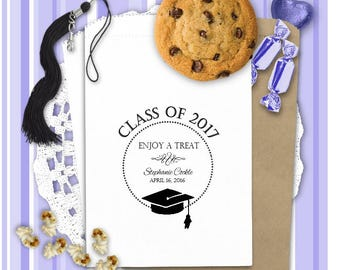 Graduation Party Treat Bags (24 BAGS) - Candy Bags - Donut Bags - Popcorn Bags - Graduation Party Favors - CB01GRD