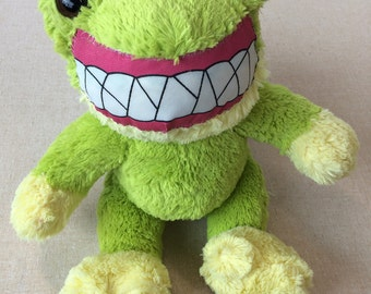 """One-of-a-kind handmade frog stuffed animal """"Happy Frog"""" materials from upcycled old toys"""