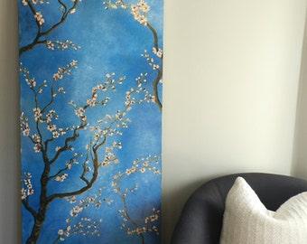 cherry blossom wall decal, cherry blossom oil painting, cherry blossom painting, cherry blossom, large oil painting, cherry painting,art