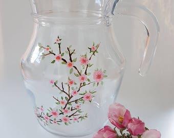 Hand Painted Cherry Blossom Small Glass Jug Birthday Anniversary