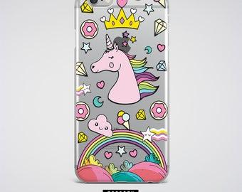 Rainbow Unicorn Clear Phone Case Tumblr iPhone 7 Case Samsung Galaxy S8 S7 Edge Case Samsung Galaxy Note 4 5 Case Cute iPhone 6S 7 Plus Case