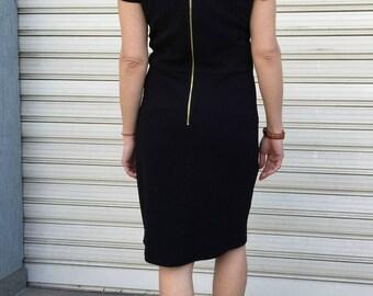 Black Short Sleeves Midi Dress / Women Elegant Dress / Classic Black Mini Dress / EXPRESS SHIPPING