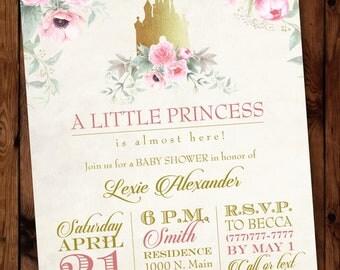 Pink Princess Invitation/Princess Baby Shower Invitation/Little Princess  Baby Shower Invitation/Castle