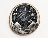 Traveler of the Skies // Mountain Scenery // Original Wood Slice Art