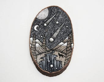 To Infinity and Beyond // Original Wood Slice Art, Wood Art, Little Wolf. Designed by Menisart