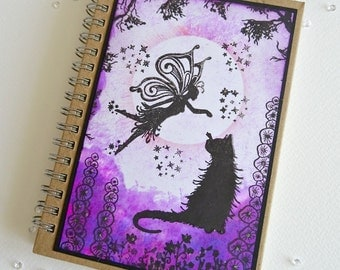 Fairy notebook, Faerie and cat book, Faery jotter,Sprite journal,Nymph Blank book, Fairysparkled book, Mothers day gift