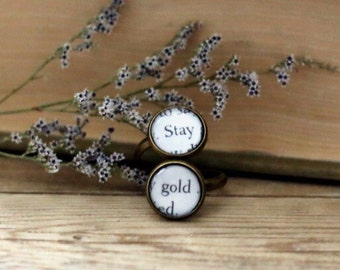 Stay Gold double book page ring. The Outsiders by S. E. Hinton.  Book Page Jewelry. Statement ring