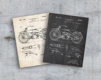 Harley Davidson Patent Poster, Motorcycle Print, Harley Davidson Poster, Motorcycle Art