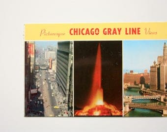 Picturesque Chicago Gray Line Views / Chicago postcard/ Illinois Postcard / Buckingham fountain. Chicago River, Wacker Drive, State Street,