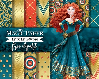 Princess Merida, Brave Digital Paper Papers, Scrapbook, Scrapbooking, Pattern
