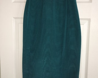 Vintage 80s high waisted teal green pencil skirt