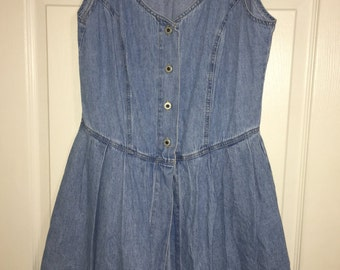 Vintage 90s Denim romper/play suit dress