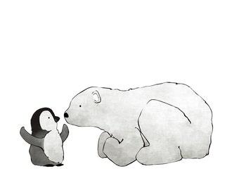 Penguin and Polar Bear Eskimo Kiss - Nursery Art Print for Kids Room