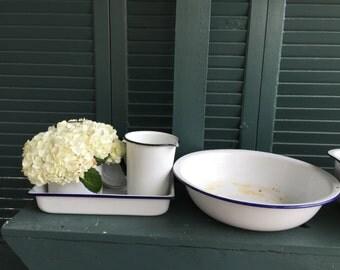White with blue trim Enamelware Bowl / Large Vintage White Enamel Bowl