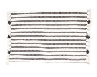 Bath Mats Rugs Etsy - Black and white striped bath rug for bathroom decorating ideas