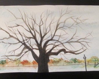 Tree Stroll Watercolor Painting