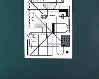 Black and white poster - graphic line - wall decoration design - abstract geometric illustration