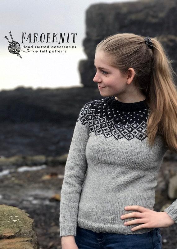 Women's hand knitted fair isle wool sweater womens wool