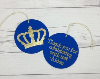 Prince Royal Blue Birthday Favor Tags, Boy's First Birthday Crown Birthday Royal Prince Birthday Royal Blue and Gold Baby Shower Cake Topper