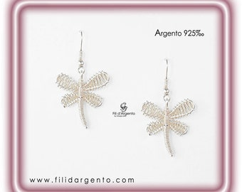 """Set Pendant/Earrings """"Dragonflies"""" in 925 ‰ Wire - Crafted"""