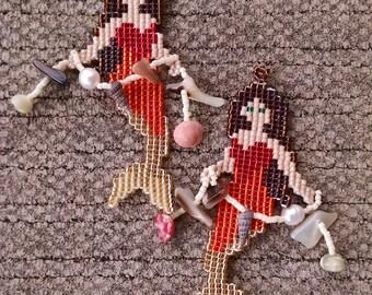 Beaded Mermaid Earrings, Red, Orange, Gold, and Brown Mermaids with Ocean Treasure, Mermaid Tail, Mermaid Scale, Fantasy Jewelry, Shell Bead