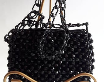 Women's Hand Bag, Black Purse, Beaded Purse, Vintage Beaded Purse, Evening Bag,Wedding Bag, Gift for Her, Gift for Wife, Purse, Shopping Bag