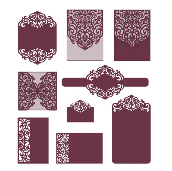 Laser cut wedding invitation templates card envelope belly for Free laser cutter templates