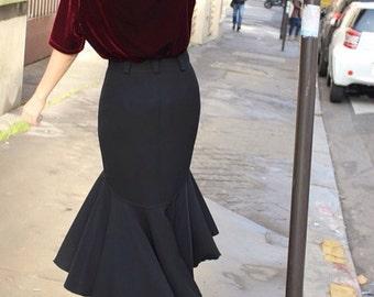 Revolver / Vintage skirt / black / asymmetrical