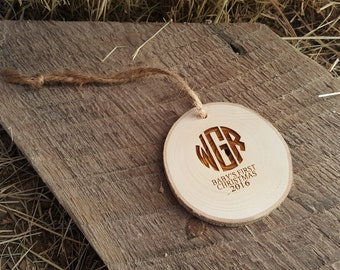 Baby's First Christmas Ornament - Monogram Christmas Ornament - Wood Slice Ornament - Rustic Christmas Ornament