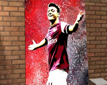 Mesut Ozil - Arsenal - Original Handmade Spray Painting Onto Canvas - The Gunners